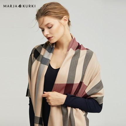 MARJAKURKI玛丽亚古琦羊毛围巾女冬季百搭大披肩两用格子韩版围脖