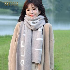 siggi 羊毛围巾女冬季韩版加厚保暖针织披肩日系百搭休闲字母围脖